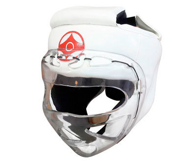 Шлем для каратэ с пластмассовой маской (натуральная кожа)