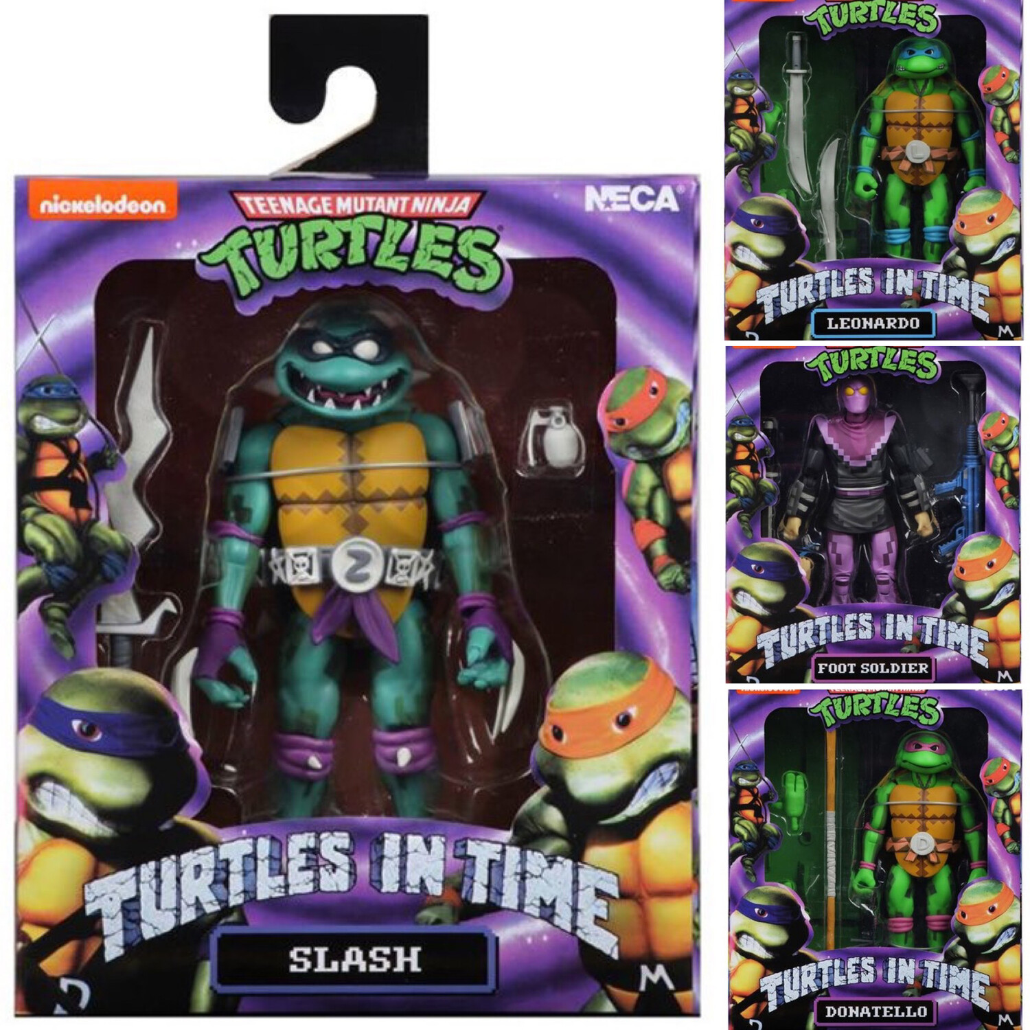 """Turtles In Time 7/"""" Scale Action Figures Series 1 SET OF 4 NECA TMNT"""
