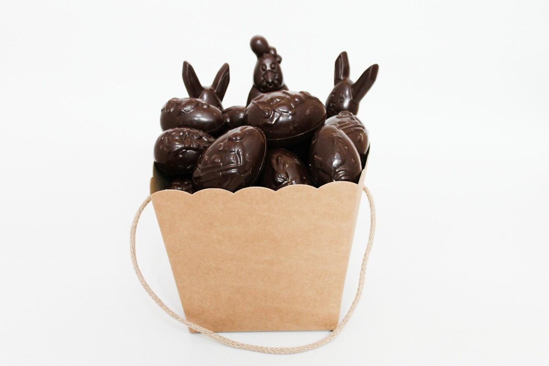 Easter eggs box - dark chocolate (8 big - 8 small - 3 Easter figures)