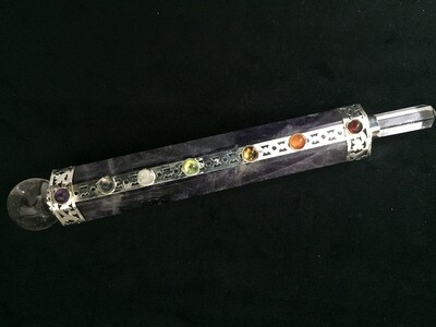 Amethyst Wand with Chakra Stones