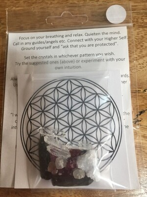 Pocket Sized Mini Crystal Grid: Emotional Healing & Release