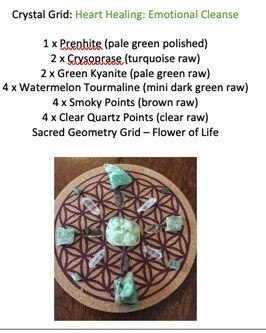 Pocket Sized Mini Crystal Grid: Heart Healing - Emotional Cleanse