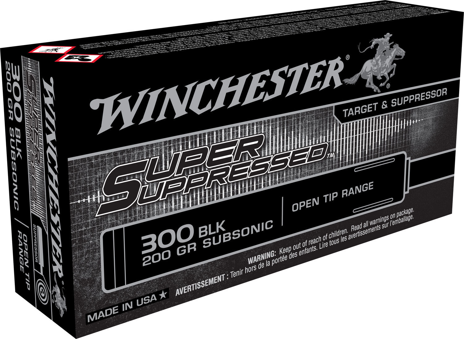 Winchester Ammo SUP300BLK Super Suppressed 300 AAC Blackout/Whisper (7.62x35mm) 200 GR Full Metal Jacket OT 20 Bx