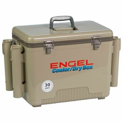 Engel 30 Qt Cooler Dry Box With Rod Holders