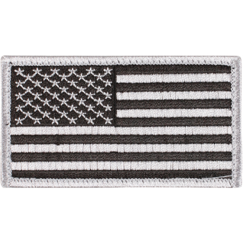 Appoutga's American Flag Patch Silver And Black