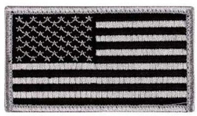 Appoutga 's American Flag Patch (Silver And Black Flag