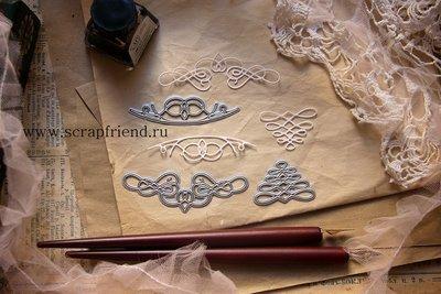 Набор ножей для вырубки Каллиграфия, 3 штуки, Scrapfriend