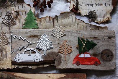 Dies Little Red Car Carrying Christmas Tree, 3 pcs, Scrapfriend