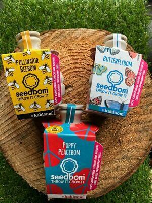 Poppy, Bee & Butterfly Seedbom triple pack