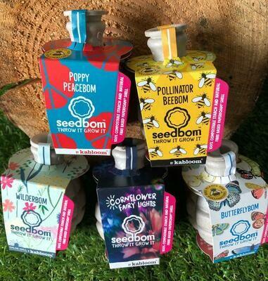 WilderBom, Cornflower, Bee, Poppy & Butterfly Seedbom five pack
