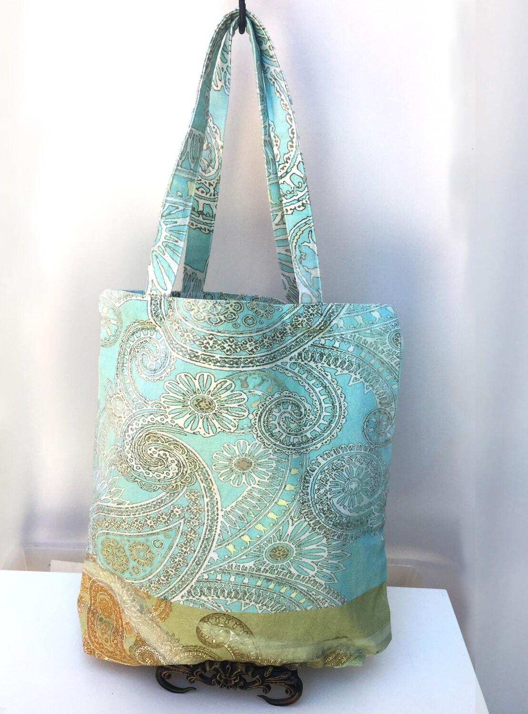 Tote Bag Aqua Paisley