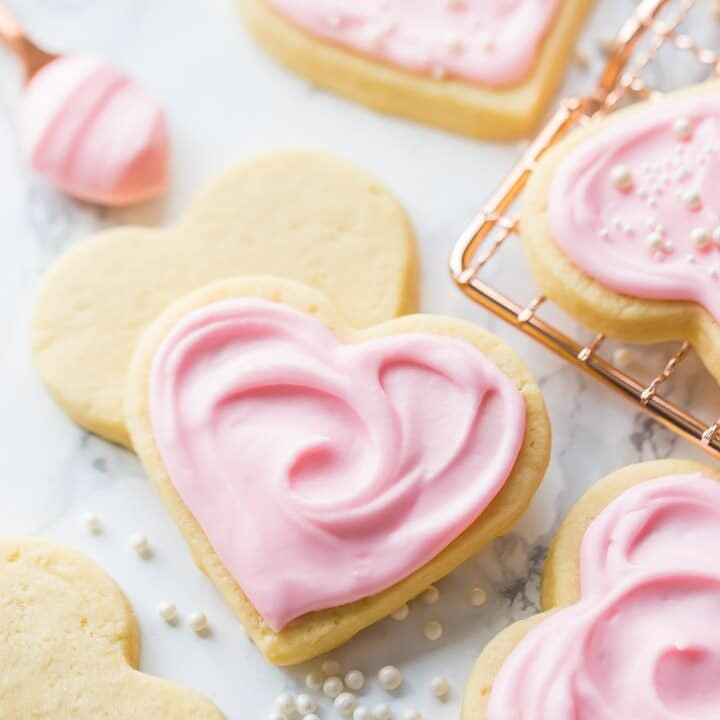 Buttercream Iced Sugar Cookie Hearts - 1 Dozen