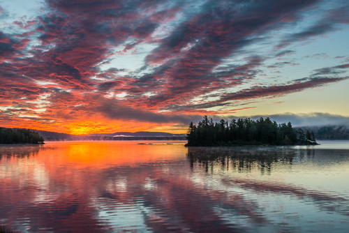 Sunrise In Heaven, Lake Of Two Rivers, Algonquin Park, Ontario, Canada