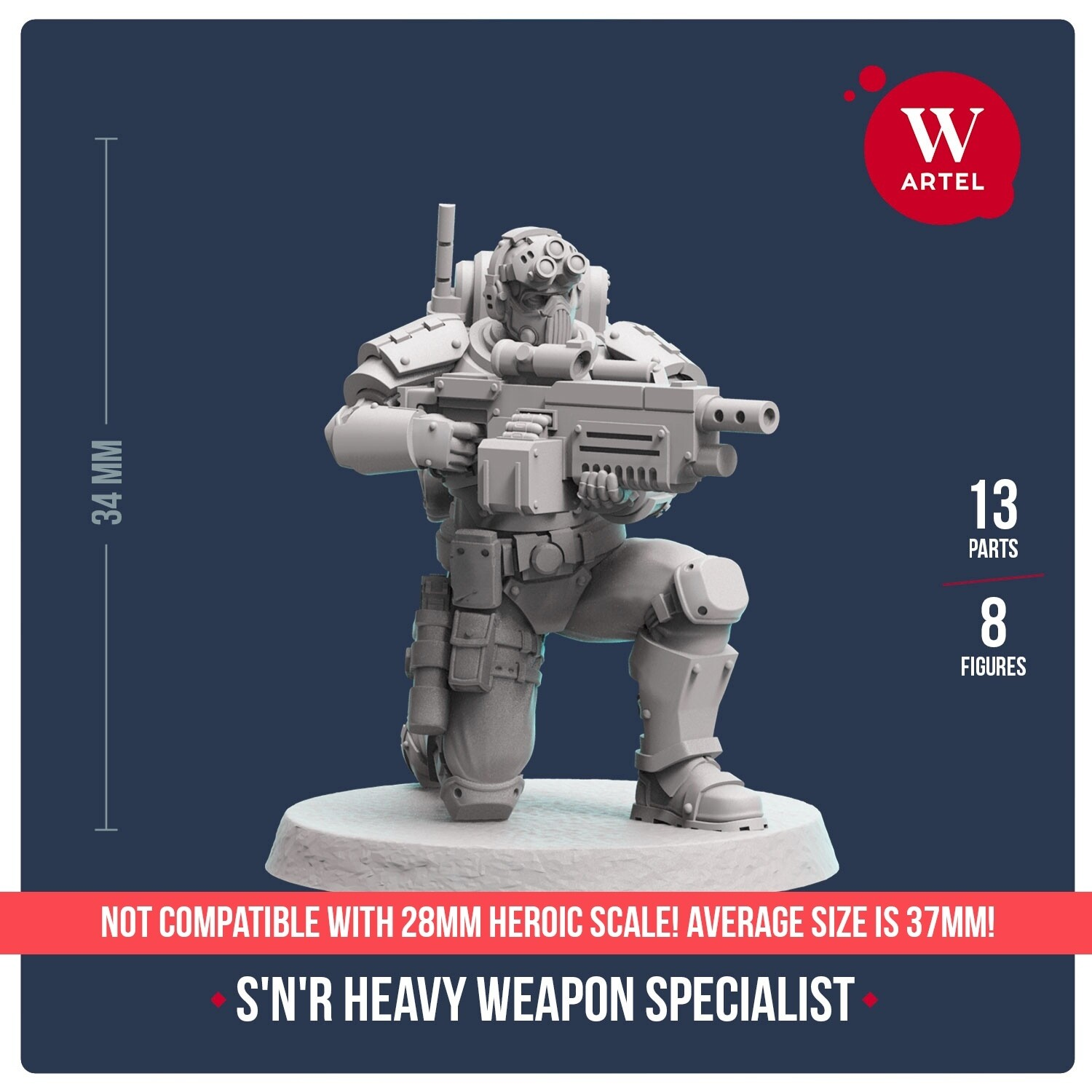 Scout`n`Recon Heavy Weapon Specialist 32mm scale