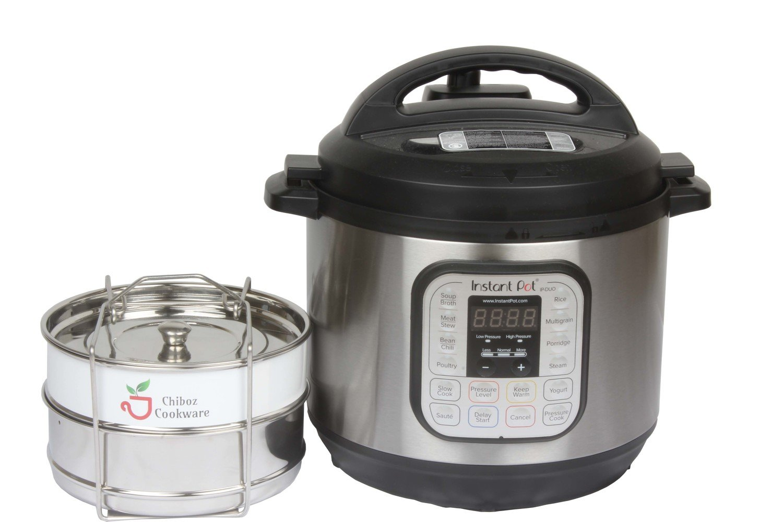 Chiboz Cookware 8 Quart XL Instant Pressure Cooker Stackable Steamer Insert Pans - Pot in Pot Accessories Compatible with 8 Qt Instant Pot