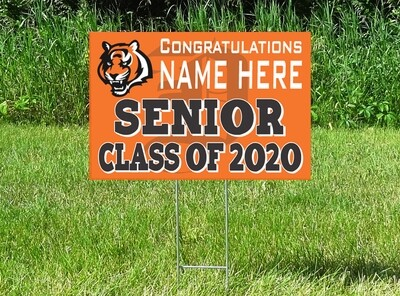 Delano Tigers Senior Class Of 2020 Yard Sign - PERSONALIZED