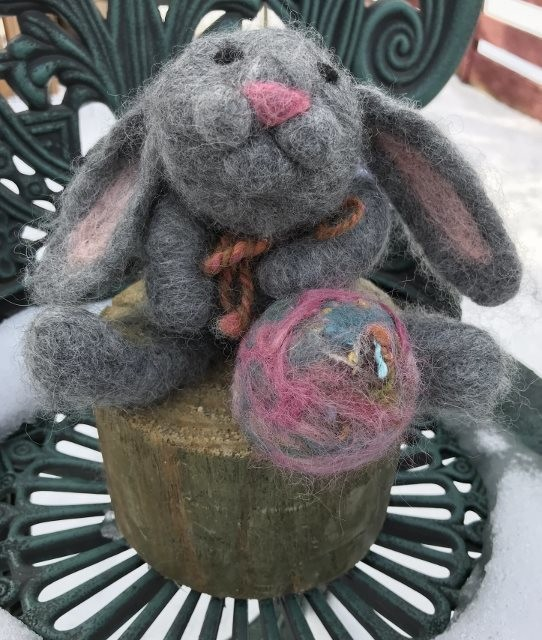 Needle Felted Grey  Rabbit with Easter Egg