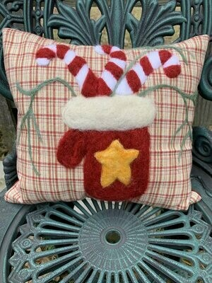 Needle Felted Mitten and Candy Canes Pillow