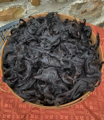 Suri Alpaca Fiber, 4 Inches, True Black, 2 Ounces,