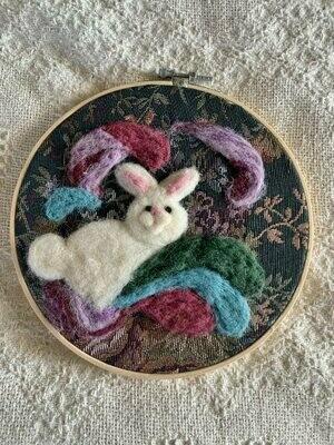 Felted Hoop Art - White Bunny