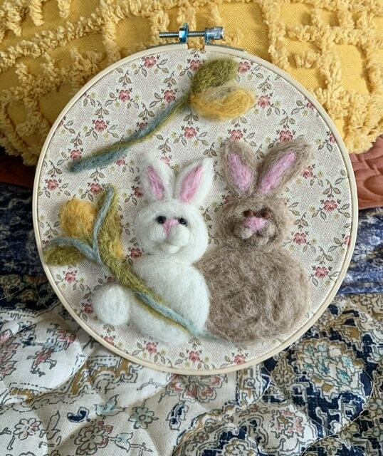 Felted Hoop Art - White and Tan Bunnies