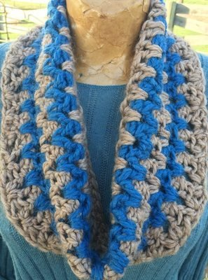 Stormy Weather Cowl - Tan and Blue