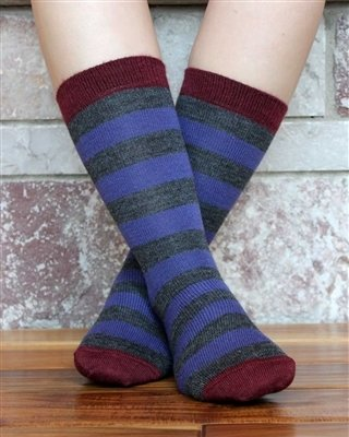 Tri-Color Striped Alpaca Socks