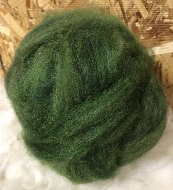 Alpaca Wool Roving - Pine Green