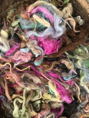 Hand-Dyed Suri Alpaca Fiber, Mixed Colors