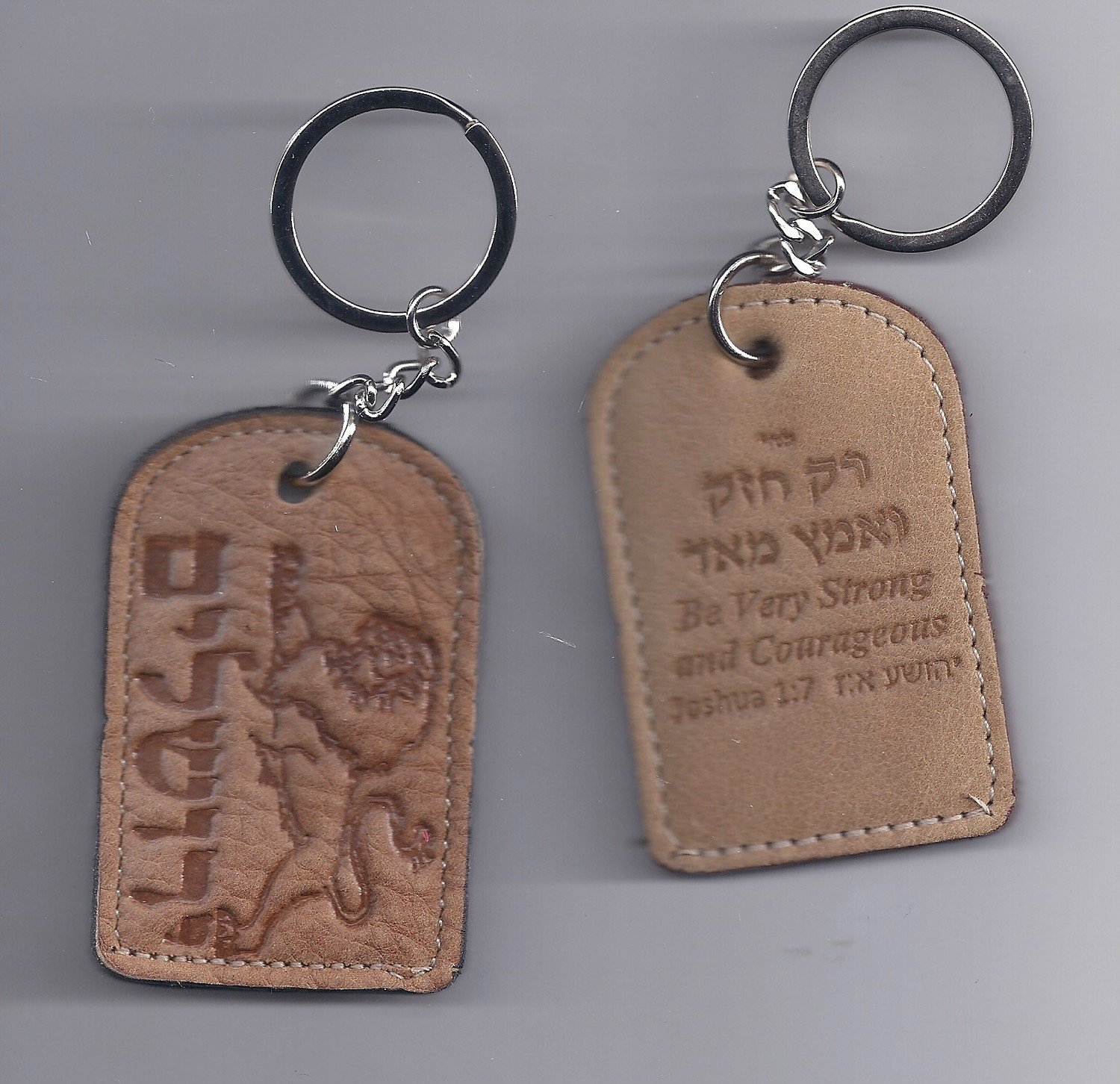 Be Strong And Courageous Leather Key Chain