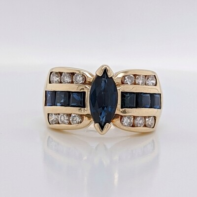 14kt Yellow Gold Sapphire Marquise Ring