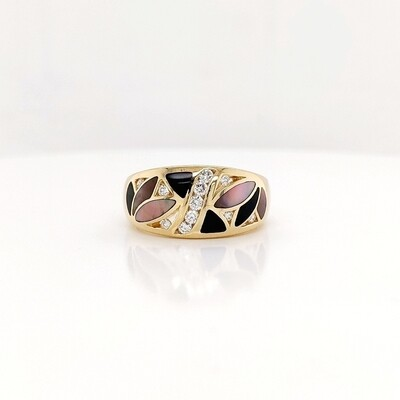 14kt Yellow Gold Mother of Pearl & Onyx Inlay Ring