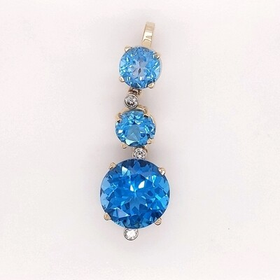 14kt Yellow Gold Blue Topaz & Diamond Pendant