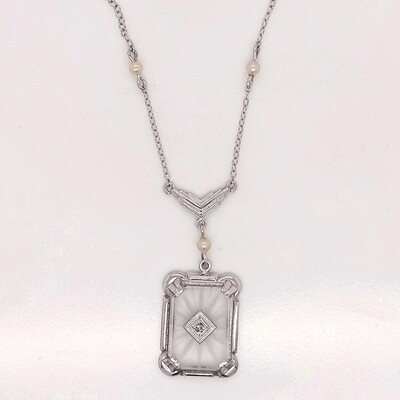 14kt White Gold Vintage Rock Crystal Quartz Pendant