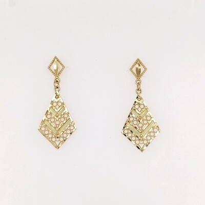 14kt Yellow Gold Filigree Drop Earrings