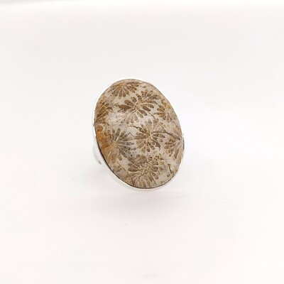 Sterling Silver Fossil Coral Ring