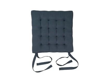 Подушка на стул стеганная серая