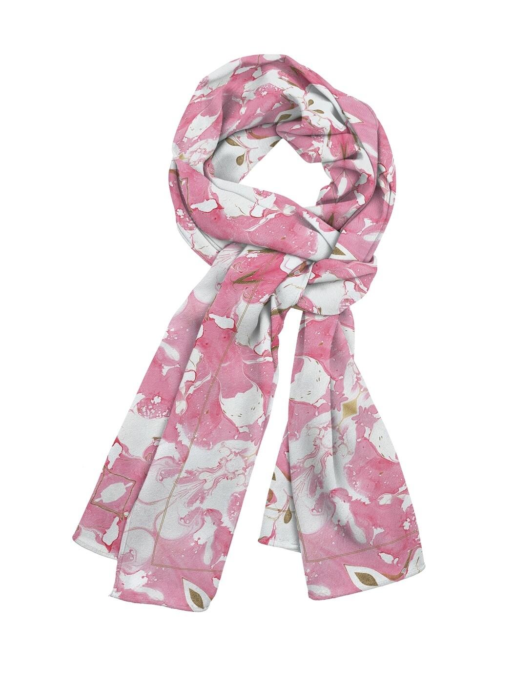Платок шейный Розовый узор мелкий