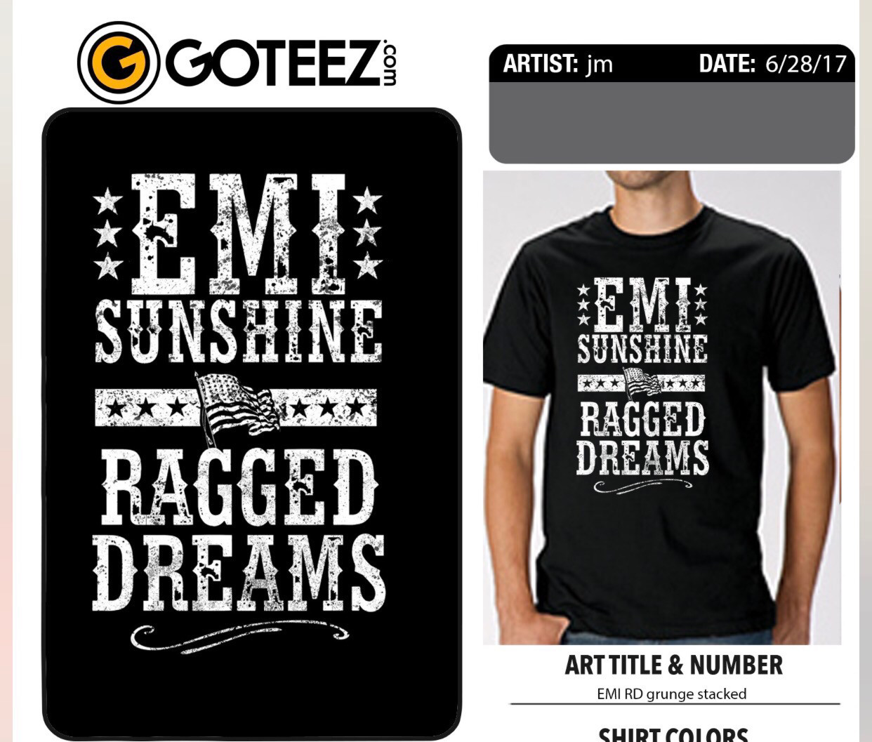 Grey Ragged Dreams Flag Shirt