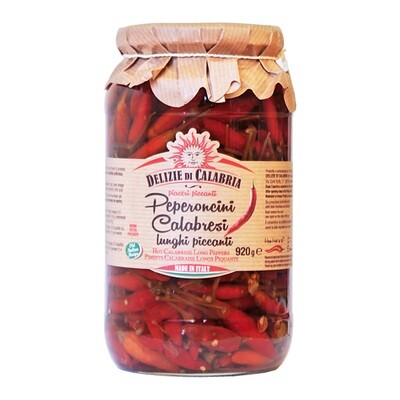 Peperoncino Calabrese Kokonaiset Chilit Öljyssä | Whole Hot Peppers | DELIZIE DI CALABRIA | 920g