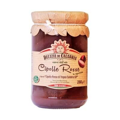 Punainen Tropea-sipuli (Calabria IGP) Makeassa Hapanmarinaadissa | Sweet-Sour Red Onions | DELIZIE DI CALABRIA | 280g