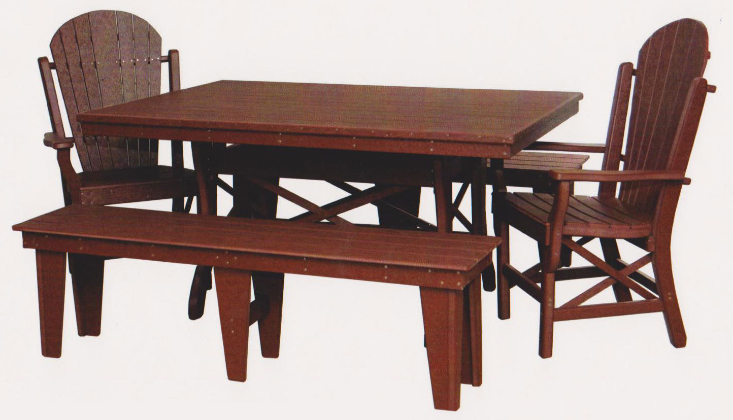"""Byler's Outdoor 44"""" * 60"""" Rectangle Dining Table, 2 Fan Back Arm Chairs, and 2 60"""" Benches."""