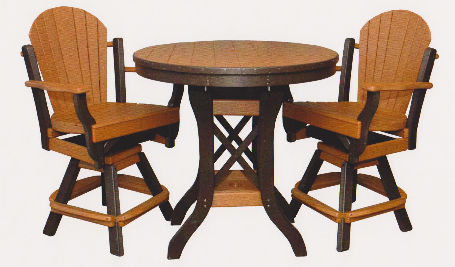 """Byler's Outdoor 36"""" Round Balcony Table & 2 Fanback Swivel Pub Arm Chairs."""