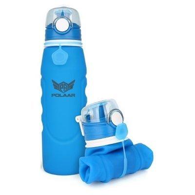 polaar - faltbare Sport-Wasserflasche, 750 ml, BPA-frei und FDA-geprüft; auslaufsicher und einhändig benutzbar dank One-Touch-Verschluss. Optimal auf Reisen, beim Radfahren, Camping etc.