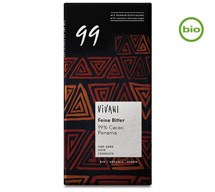 Vivani Organic FINE BITTER 99% CACAO  chocolate, 80g