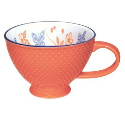 Porcelain Art Mug - Butterfly and Wild Rose