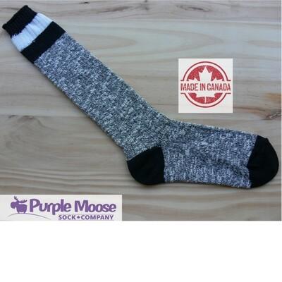 3 Stripe Knee High - Grey Slub/Black