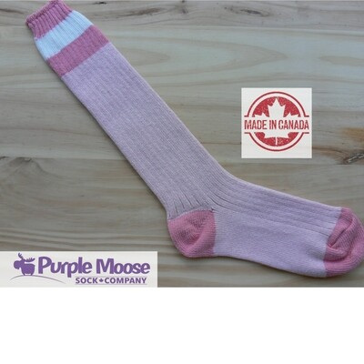 3 Stripe Knee High - Pink Slub/Pink
