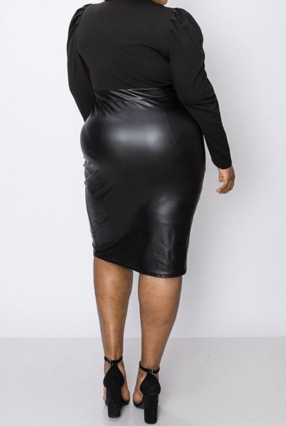 Marajah Belted Faux Leather Dress