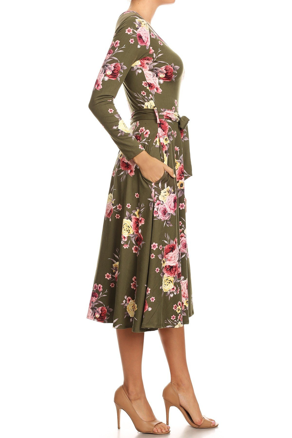 Floral Swing Dress Side View